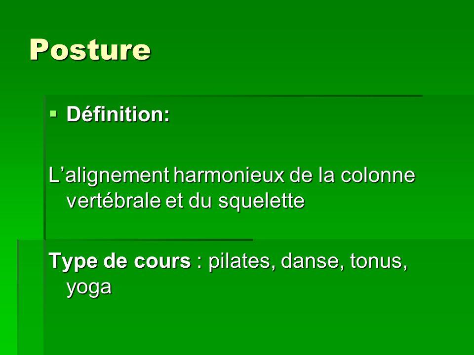 Posture Définition: Définition: Lalignement harmonieux de la colonne vertébrale et du squelette Type de cours : pilates, danse, tonus, yoga