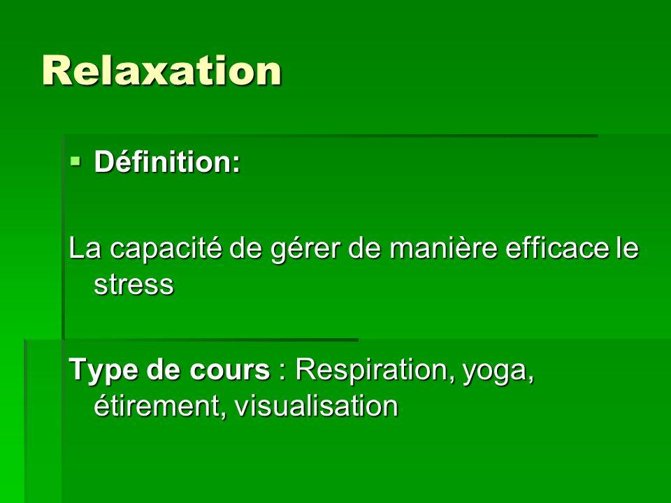 Relaxation Définition: Définition: La capacité de gérer de manière efficace le stress Type de cours : Respiration, yoga, étirement, visualisation
