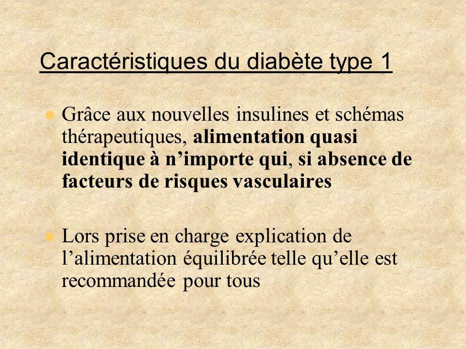 Caractéristiques du diabète type 1 Grâce aux nouvelles insulines et schémas thérapeutiques, alimentation quasi identique à nimporte qui, si absence de