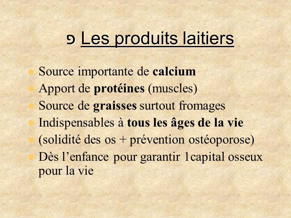 פ Les produits laitiers Source importante de calcium Apport de protéines (muscles) Source de graisses surtout fromages Indispensables à tous les âges