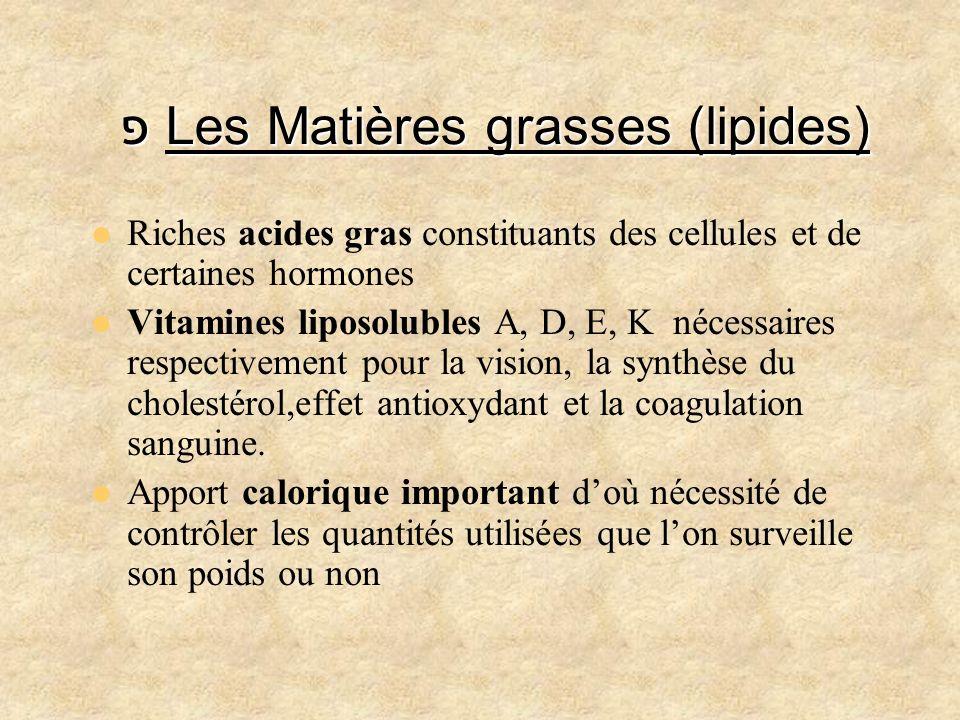 פ Les Matières grasses (lipides) Riches acides gras constituants des cellules et de certaines hormones Vitamines liposolubles A, D, E, K nécessaires r