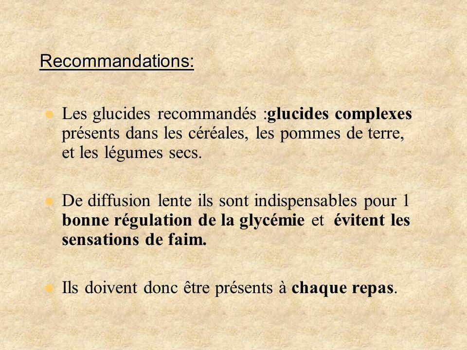 Recommandations: Les glucides recommandés :glucides complexes présents dans les céréales, les pommes de terre, et les légumes secs. De diffusion lente