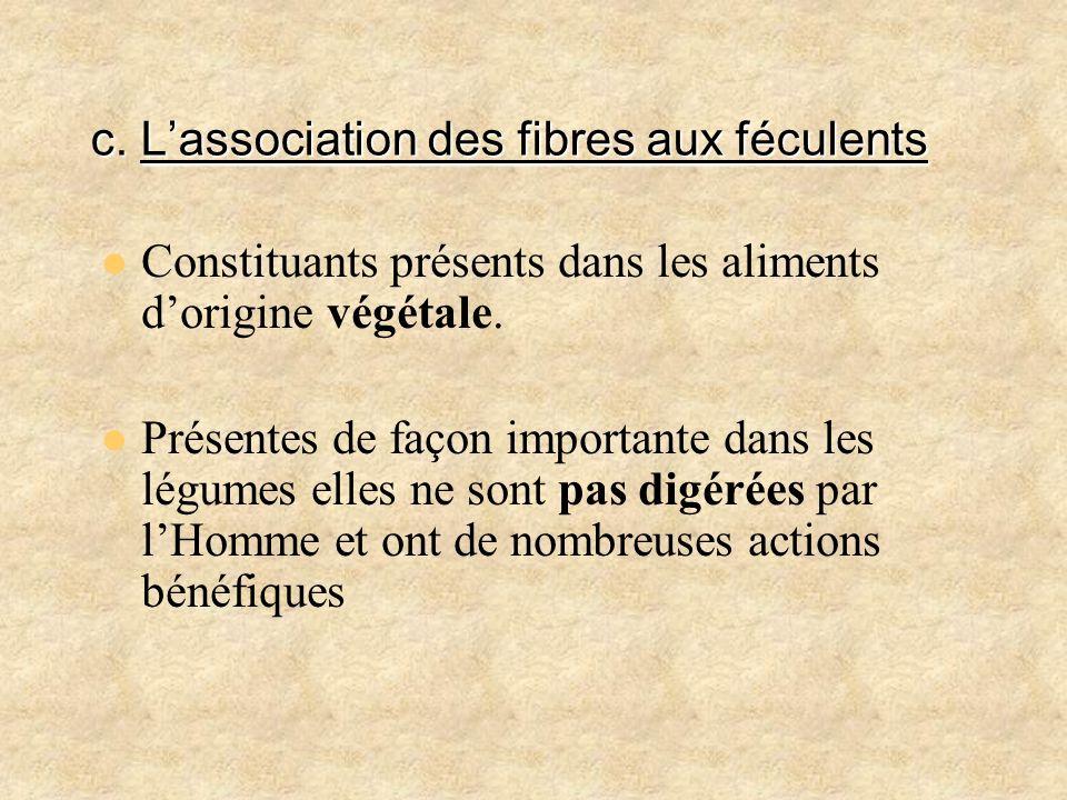 c. Lassociation des fibres aux féculents Constituants présents dans les aliments dorigine végétale. Présentes de façon importante dans les légumes ell