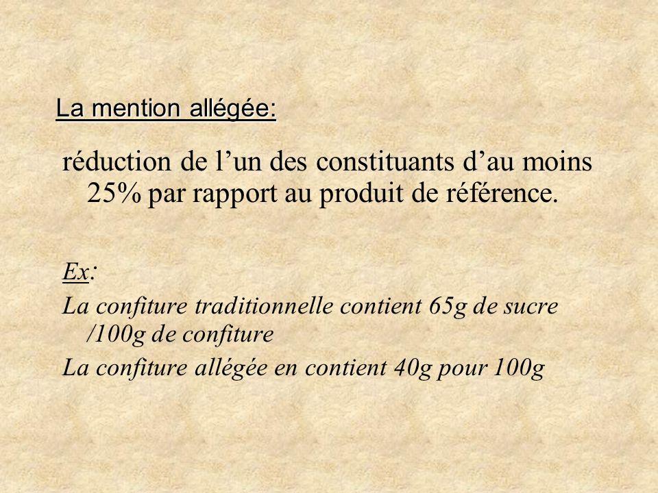 La mention allégée: réduction de lun des constituants dau moins 25% par rapport au produit de référence. Ex : La confiture traditionnelle contient 65g
