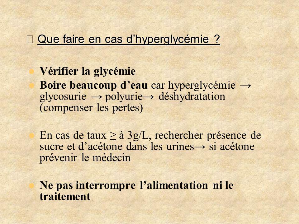Que faire en cas dhyperglycémie ? Que faire en cas dhyperglycémie ? Vérifier la glycémie Boire beaucoup deau car hyperglycémie glycosurie polyurie dés
