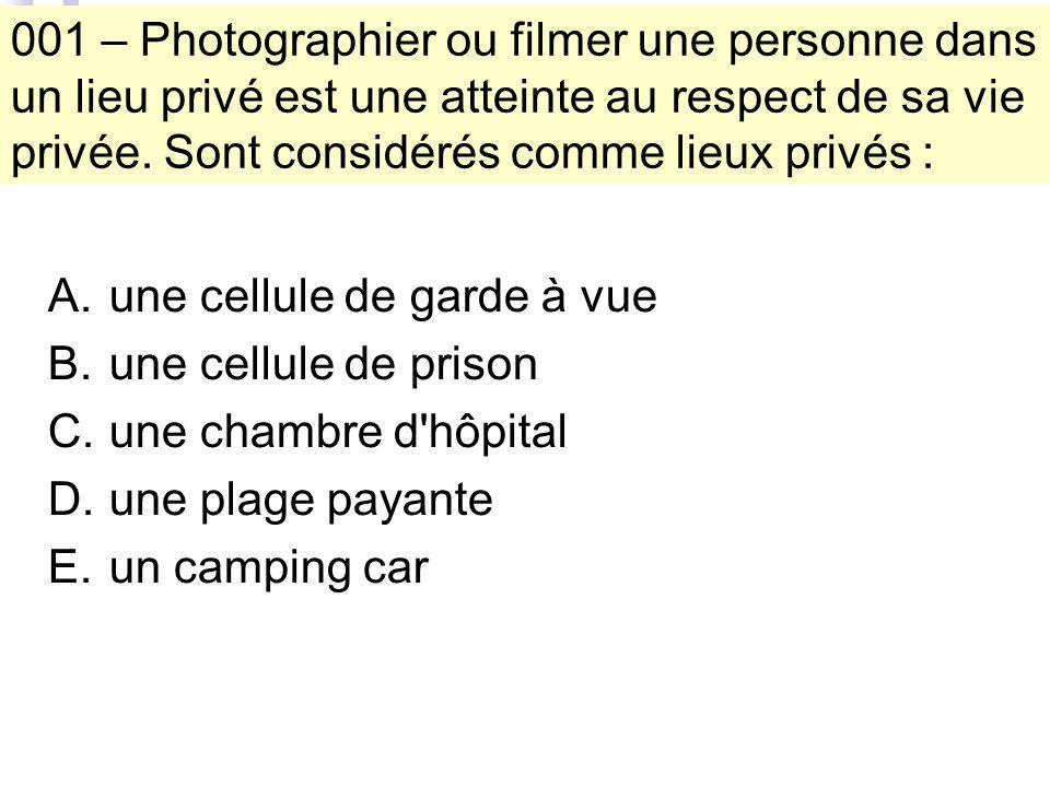 001 – Photographier ou filmer une personne dans un lieu privé est une atteinte au respect de sa vie privée.