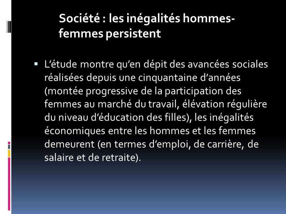Létude montre quen dépit des avancées sociales réalisées depuis une cinquantaine dannées (montée progressive de la participation des femmes au marché