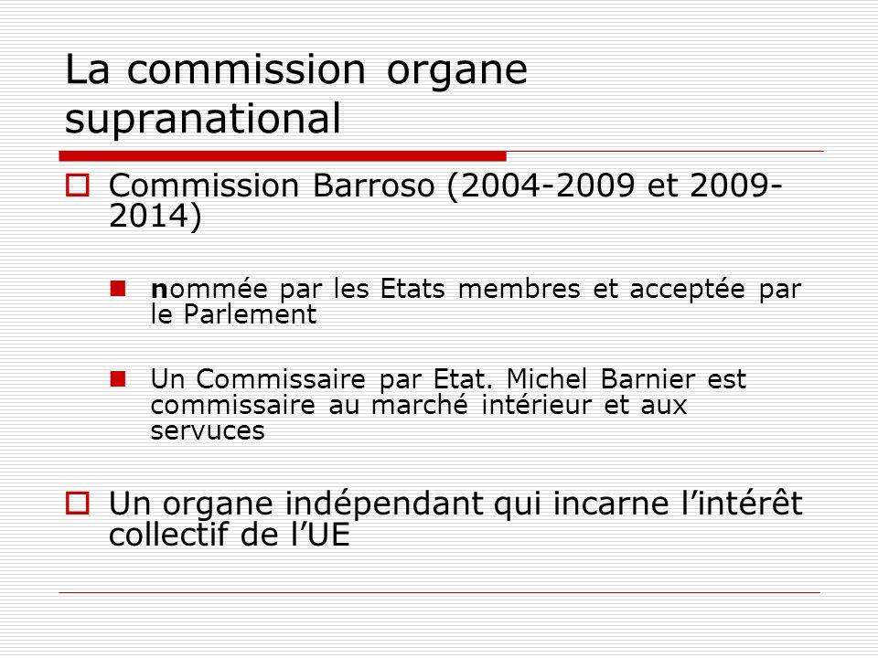 La commission organe supranational Commission Barroso (2004-2009 et 2009- 2014) nommée par les Etats membres et acceptée par le Parlement Un Commissaire par Etat.