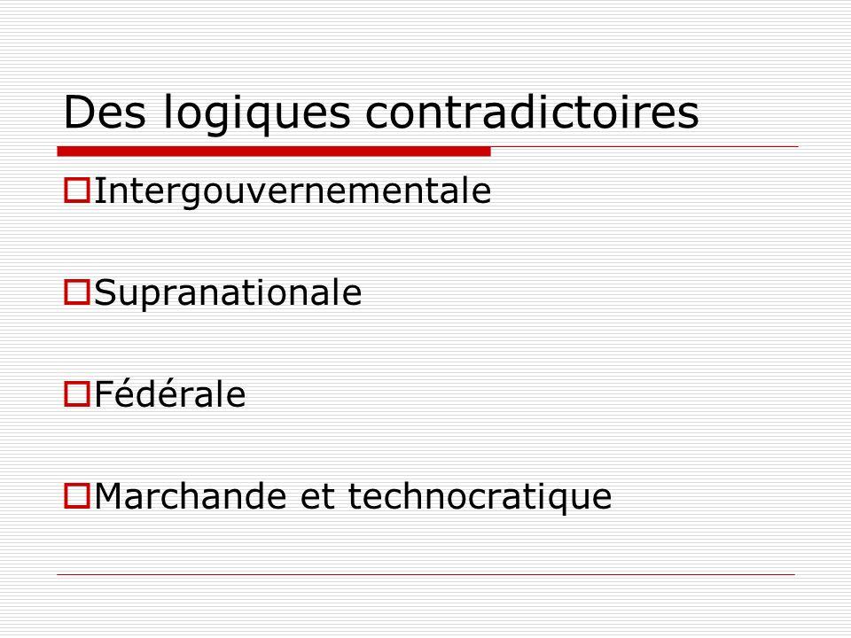 Des logiques contradictoires Intergouvernementale Supranationale Fédérale Marchande et technocratique