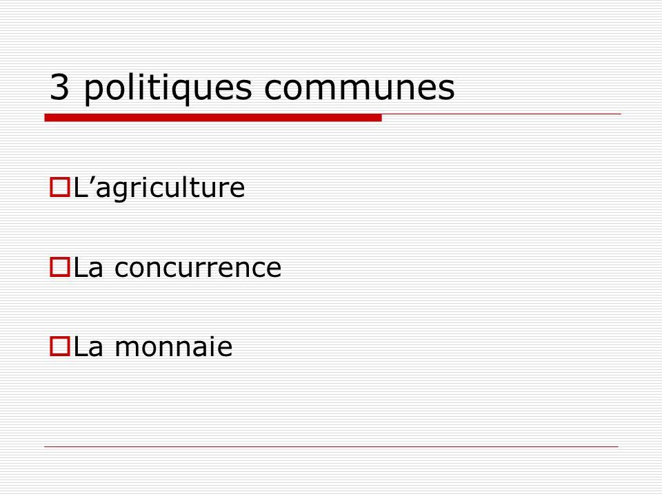 3 politiques communes Lagriculture La concurrence La monnaie