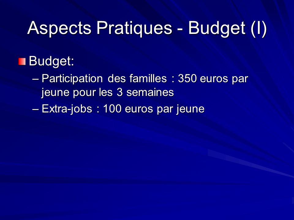 Aspects Pratiques - Budget (I) Budget: –Participation des familles : 350 euros par jeune pour les 3 semaines –Extra-jobs : 100 euros par jeune