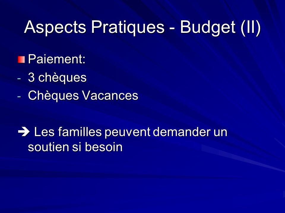 Aspects Pratiques - Budget (II) Paiement: - 3 chèques - Chèques Vacances Les familles peuvent demander un soutien si besoin Les familles peuvent deman