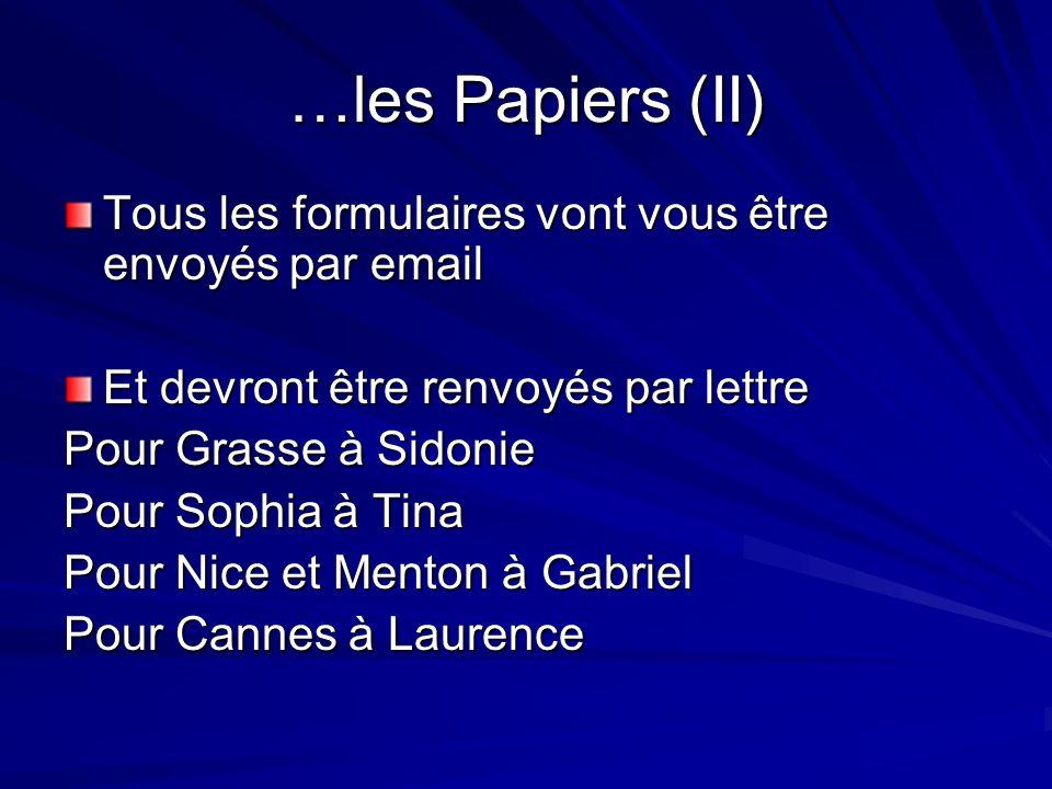 …les Papiers (II) Tous les formulaires vont vous être envoyés par email Et devront être renvoyés par lettre Pour Grasse à Sidonie Pour Sophia à Tina P
