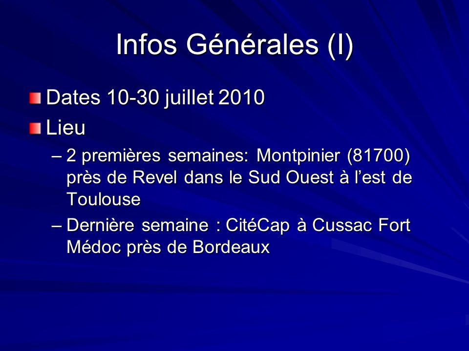 Infos Générales (I) Dates 10-30 juillet 2010 Lieu –2 premières semaines: Montpinier (81700) près de Revel dans le Sud Ouest à lest de Toulouse –Derniè