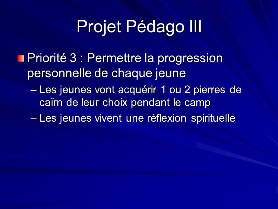 Projet Pédago III Priorité 3 : Permettre la progression personnelle de chaque jeune –Les jeunes vont acquérir 1 ou 2 pierres de caïrn de leur choix pe