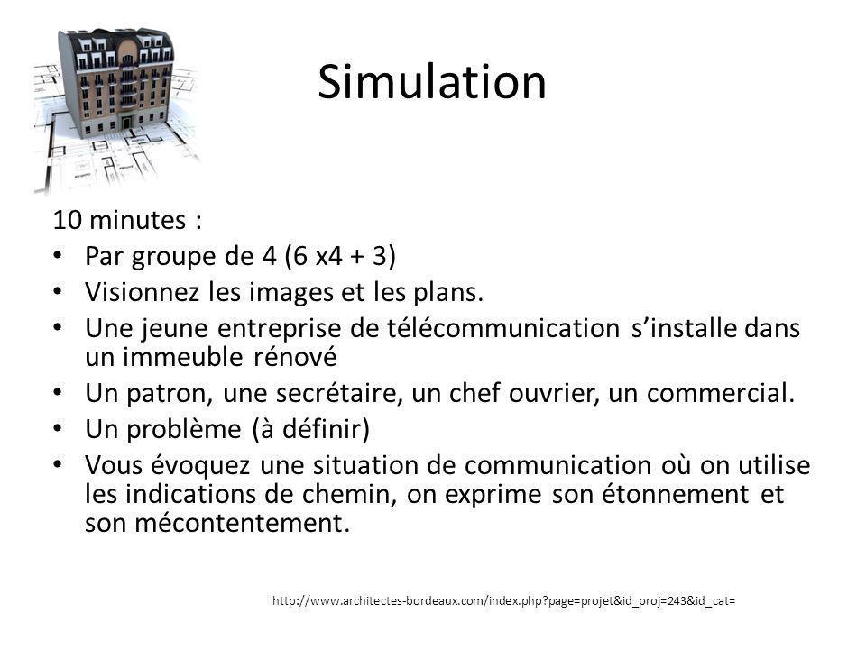 Simulation 10 minutes : Par groupe de 4 (6 x4 + 3) Visionnez les images et les plans. Une jeune entreprise de télécommunication sinstalle dans un imme