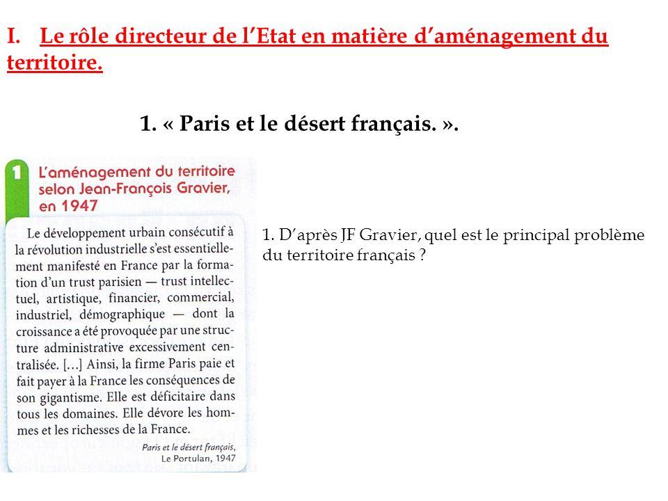 I.Le rôle directeur de lEtat en matière daménagement du territoire. 1. « Paris et le désert français. ». 1. Daprès JF Gravier, quel est le principal p