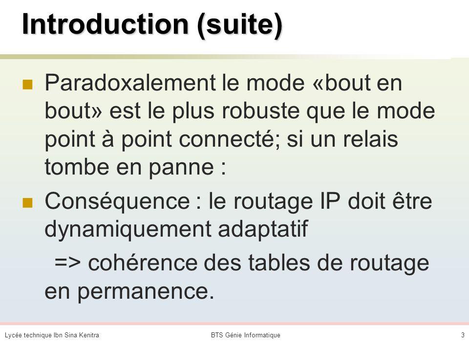 Lycée technique Ibn Sina KenitraBTS Génie Informatique3 Introduction (suite) Paradoxalement le mode «bout en bout» est le plus robuste que le mode point à point connecté; si un relais tombe en panne : Conséquence : le routage IP doit être dynamiquement adaptatif => cohérence des tables de routage en permanence.