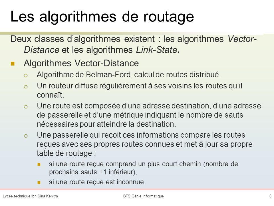 Lycée technique Ibn Sina KenitraBTS Génie Informatique6 Les algorithmes de routage Deux classes dalgorithmes existent : les algorithmes Vector- Distance et les algorithmes Link-State.