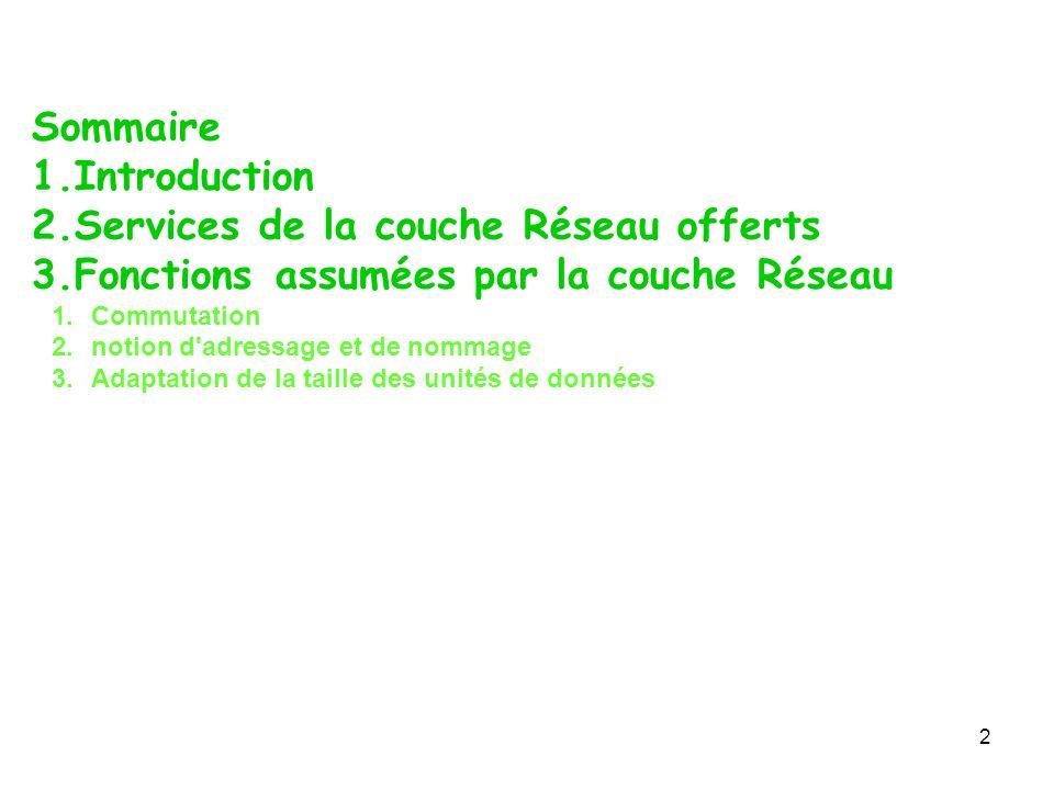 Sommaire 1.Introduction 2.Services de la couche Réseau offerts 3.Fonctions assumées par la couche Réseau 1.Commutation 2.notion d'adressage et de nomm