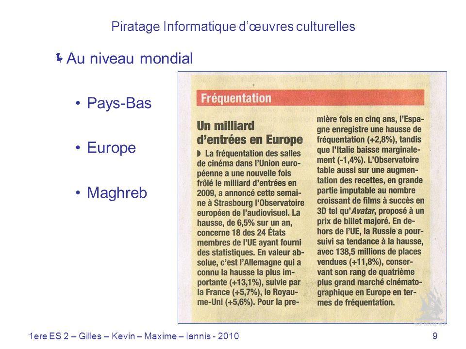 1ere ES 2 – Gilles – Kevin – Maxime – Iannis - 20109 Piratage Informatique dœuvres culturelles Au niveau mondial Pays-Bas Europe Maghreb