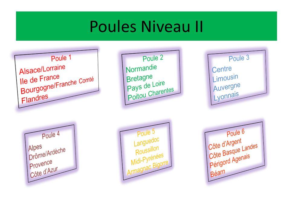 Les Poules des Grandes Zones géographiques Niveau III Poule A Midi- Pyrénées Auvergne Limousin Aquitaine Grand Ouest Poule B Rhone Alpes PACAC Languedoc Roussillon Grand Est