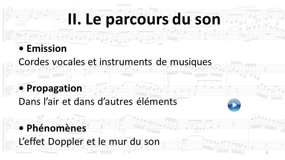 3 II. Le parcours du son Emission Cordes vocales et instruments de musiques Propagation Dans lair et dans dautres éléments Phénomènes Leffet Doppler e