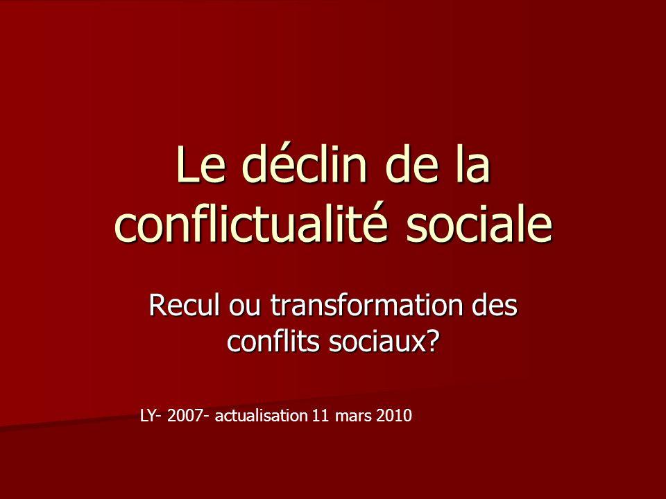 Le déclin de la conflictualité sociale Recul ou transformation des conflits sociaux? LY- 2007- actualisation 11 mars 2010