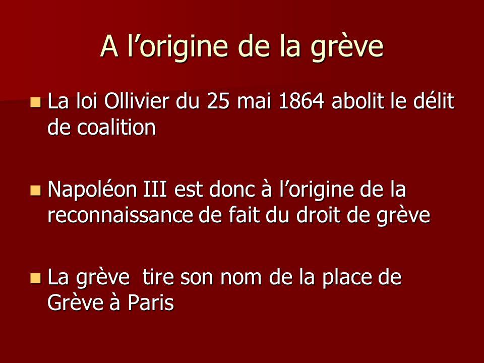 A lorigine de la grève La loi Ollivier du 25 mai 1864 abolit le délit de coalition La loi Ollivier du 25 mai 1864 abolit le délit de coalition Napoléo