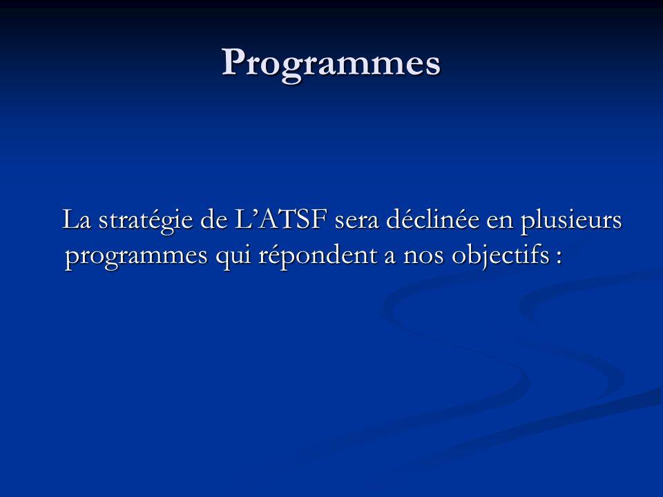 Programmes La stratégie de LATSF sera déclinée en plusieurs programmes qui répondent a nos objectifs : La stratégie de LATSF sera déclinée en plusieur