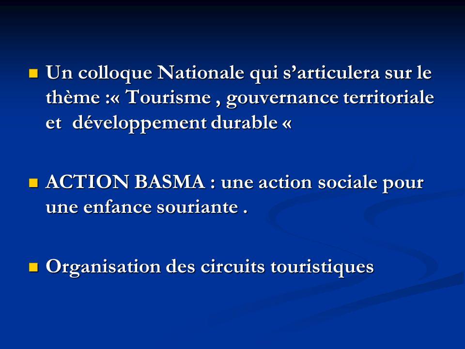 Un colloque Nationale qui sarticulera sur le thème :« Tourisme, gouvernance territoriale et développement durable « Un colloque Nationale qui sarticulera sur le thème :« Tourisme, gouvernance territoriale et développement durable « ACTION BASMA : une action sociale pour une enfance souriante.