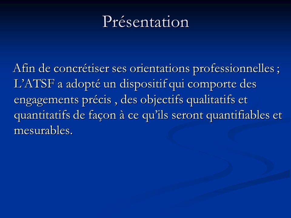 Présentation Afin de concrétiser ses orientations professionnelles ; LATSF a adopté un dispositif qui comporte des engagements précis, des objectifs qualitatifs et quantitatifs de façon à ce quils seront quantifiables et mesurables.