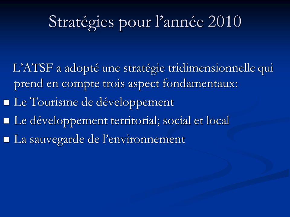Stratégies pour lannée 2010 LATSF a adopté une stratégie tridimensionnelle qui prend en compte trois aspect fondamentaux: LATSF a adopté une stratégie