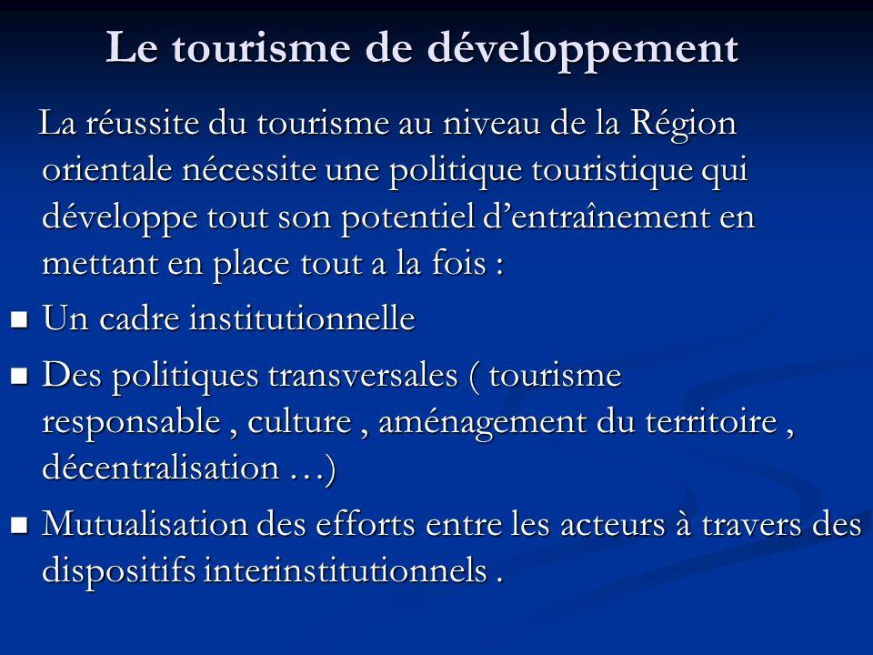 Le tourisme de développement La réussite du tourisme au niveau de la Région orientale nécessite une politique touristique qui développe tout son poten