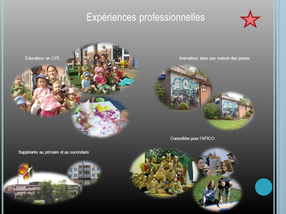 Expériences professionnelles Éducatrice en CPEAnimatrice dans une maison des jeunes Conseillère pour lAPICO Suppléante au primaire et au secondaire