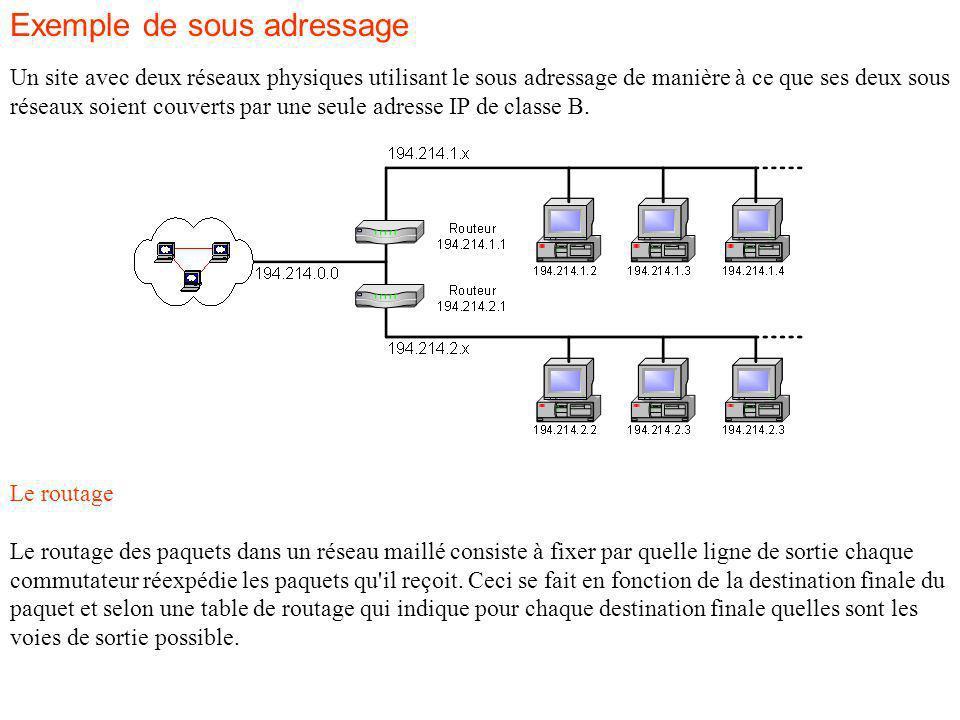 Exemple de sous adressage Un site avec deux réseaux physiques utilisant le sous adressage de manière à ce que ses deux sous réseaux soient couverts par une seule adresse IP de classe B.