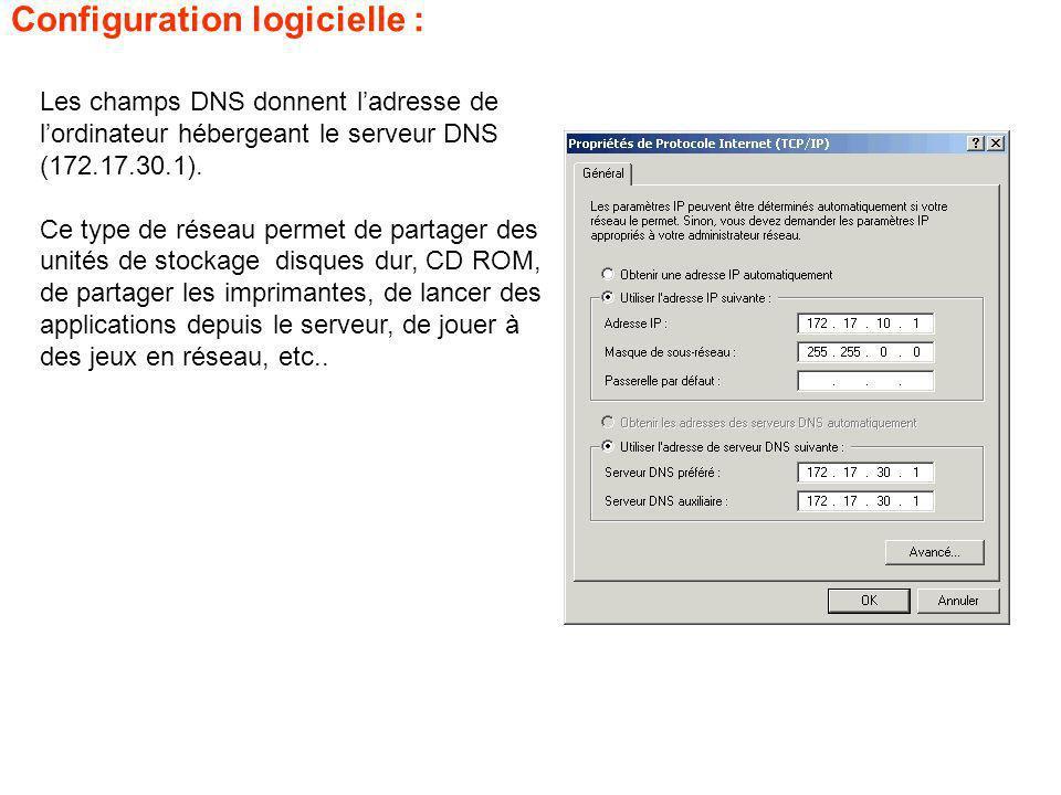 Les champs DNS donnent ladresse de lordinateur hébergeant le serveur DNS (172.17.30.1). Ce type de réseau permet de partager des unités de stockage di