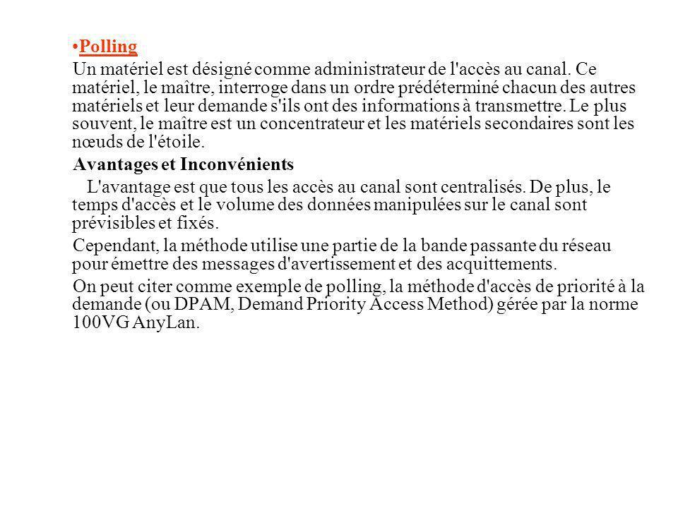 Polling Un matériel est désigné comme administrateur de l'accès au canal. Ce matériel, le maître, interroge dans un ordre prédéterminé chacun des autr