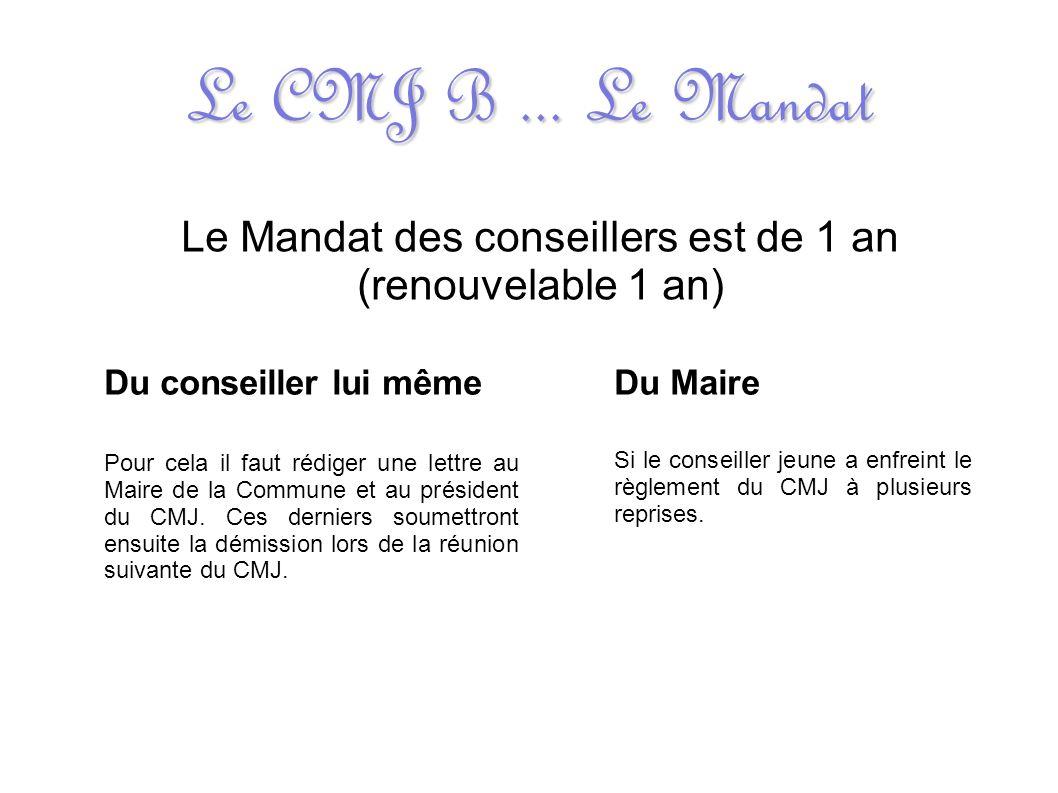 Le CMJ B... Le Mandat Le Mandat des conseillers est de 1 an (renouvelable 1 an) Du conseiller lui même Pour cela il faut rédiger une lettre au Maire d