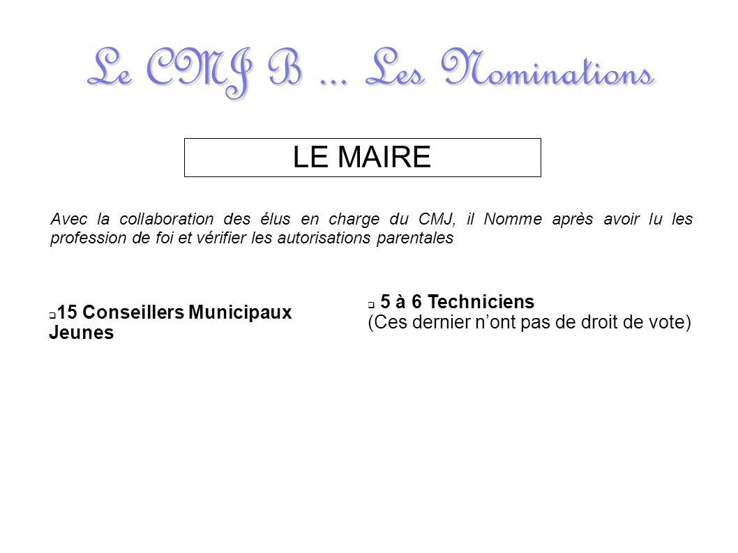 Le CMJ B... Les Nominations LE MAIRE Avec la collaboration des élus en charge du CMJ, il Nomme après avoir lu les profession de foi et vérifier les au