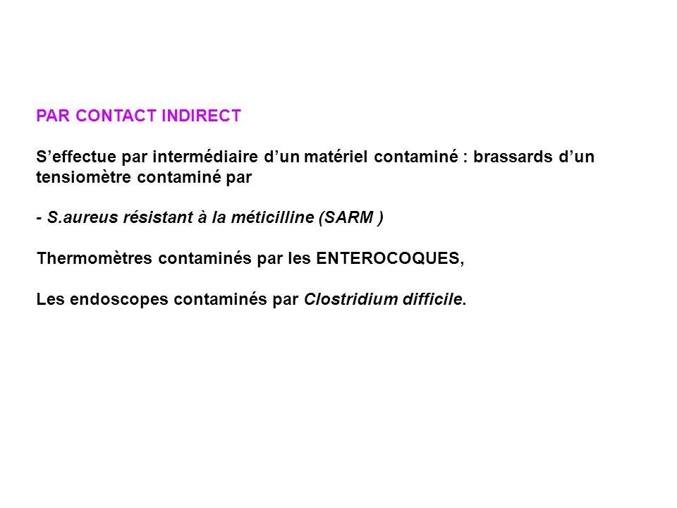 PAR CONTACT INDIRECT Seffectue par intermédiaire dun matériel contaminé : brassards dun tensiomètre contaminé par - S.aureus résistant à la méticillin