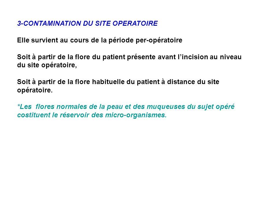 3-CONTAMINATION DU SITE OPERATOIRE Elle survient au cours de la période per-opératoire Soit à partir de la flore du patient présente avant lincision a