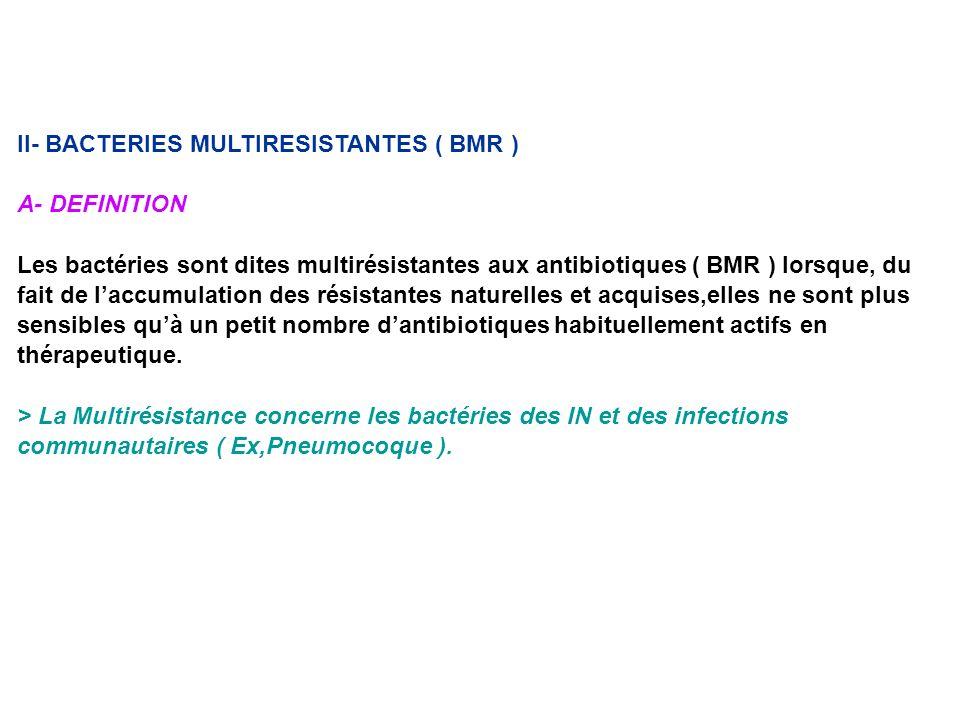II- BACTERIES MULTIRESISTANTES ( BMR ) A- DEFINITION Les bactéries sont dites multirésistantes aux antibiotiques ( BMR ) lorsque, du fait de laccumula
