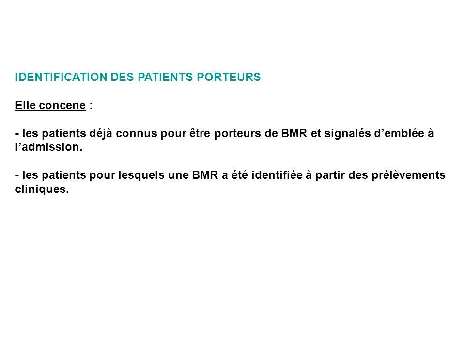 IDENTIFICATION DES PATIENTS PORTEURS Elle concene : - les patients déjà connus pour être porteurs de BMR et signalés demblée à ladmission. - les patie