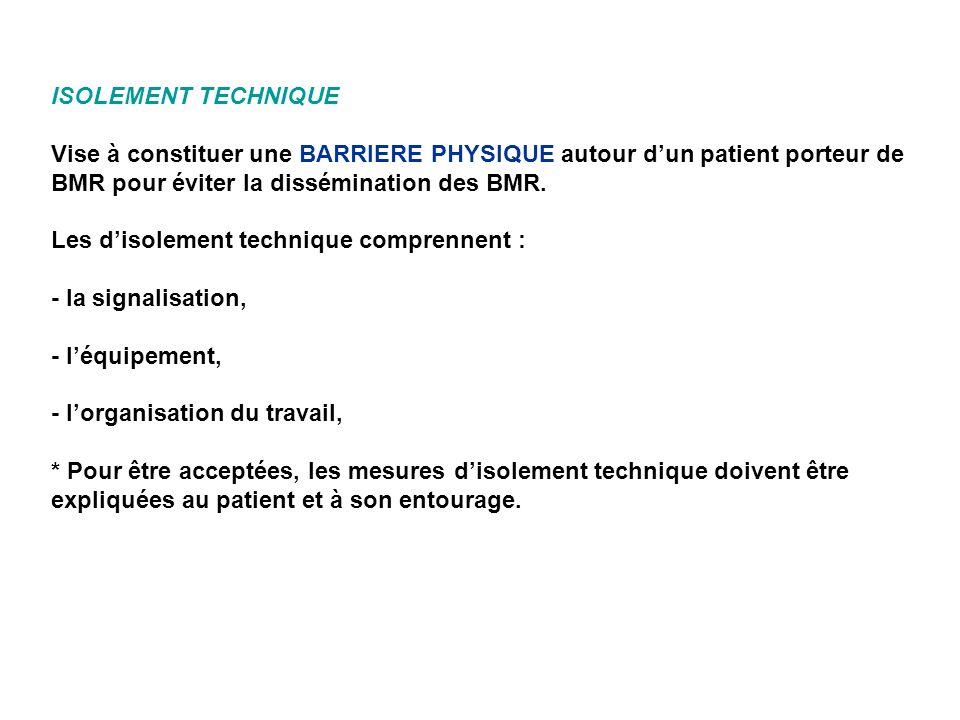 ISOLEMENT TECHNIQUE Vise à constituer une BARRIERE PHYSIQUE autour dun patient porteur de BMR pour éviter la dissémination des BMR. Les disolement tec