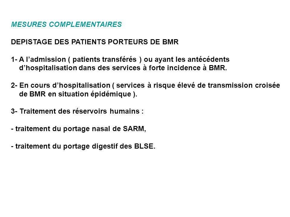 MESURES COMPLEMENTAIRES DEPISTAGE DES PATIENTS PORTEURS DE BMR 1- A ladmission ( patients transférés ) ou ayant les antécédents dhospitalisation dans