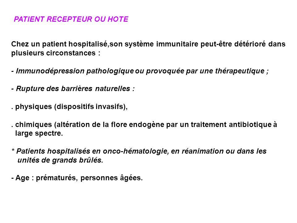 PATIENT RECEPTEUR OU HOTE Chez un patient hospitalisé,son système immunitaire peut-être détérioré dans plusieurs circonstances : - Immunodépression pa