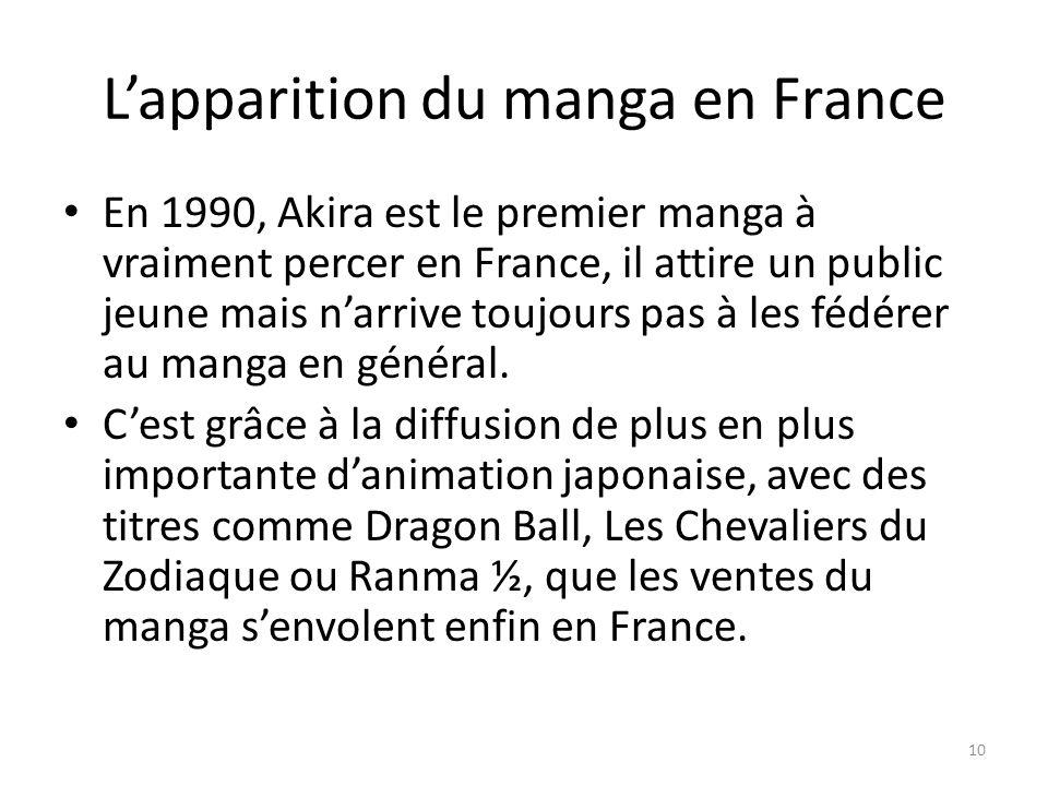 Lapparition du manga en France En 1990, Akira est le premier manga à vraiment percer en France, il attire un public jeune mais narrive toujours pas à