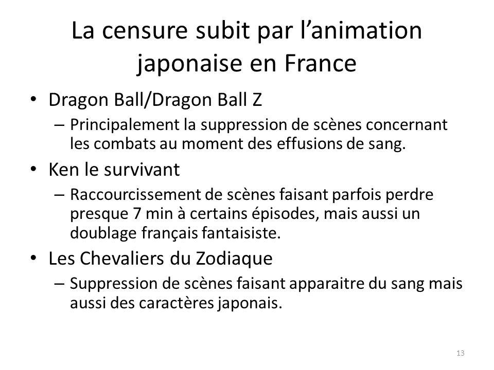La censure subit par lanimation japonaise en France Dragon Ball/Dragon Ball Z – Principalement la suppression de scènes concernant les combats au mome