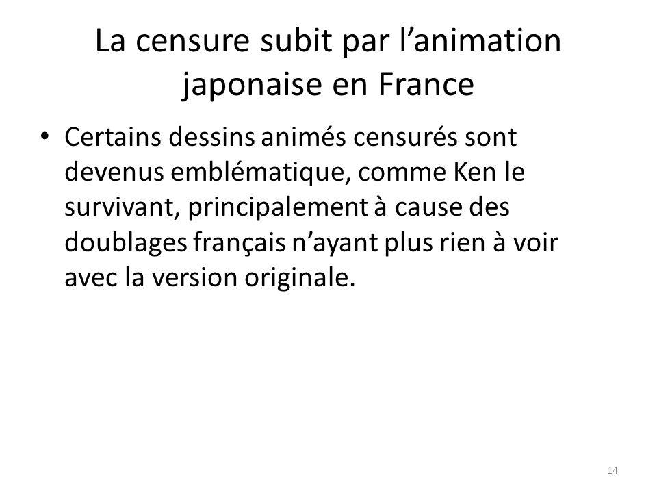 La censure subit par lanimation japonaise en France Certains dessins animés censurés sont devenus emblématique, comme Ken le survivant, principalement